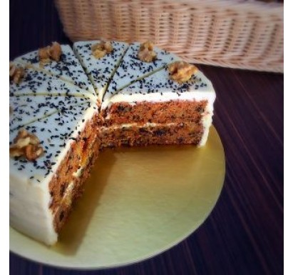 Black Sesame Cream Cheese Carrot Cake