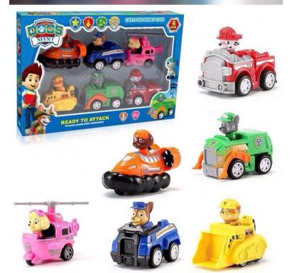 6pc Set Paw Patrol Vehicle Toys