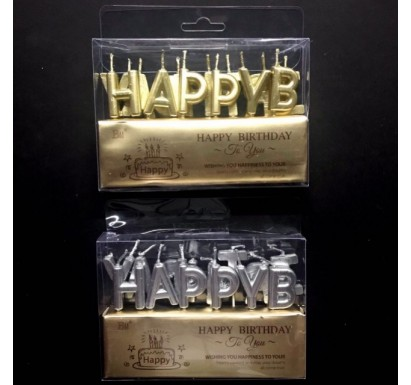 Metallic HAPPY BIRTHDAY Candles