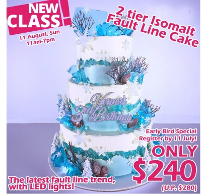 2 tier Isomalt Fault Line Cake with LED lights Class