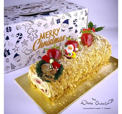 Earl Grey Strawberry Shortcake Christmas Log
