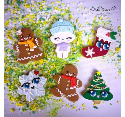 6pc Cartoon Christmas Shortbread Cookies