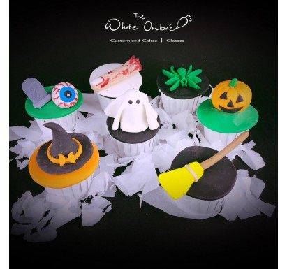 7pc Halloween Fondant Cupcake Set A