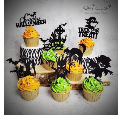 8pc Halloween Papercraft Topper Cupcake Set