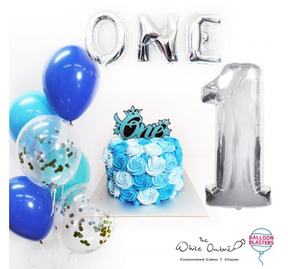 Blue Rosette Smash Cake Balloon Package