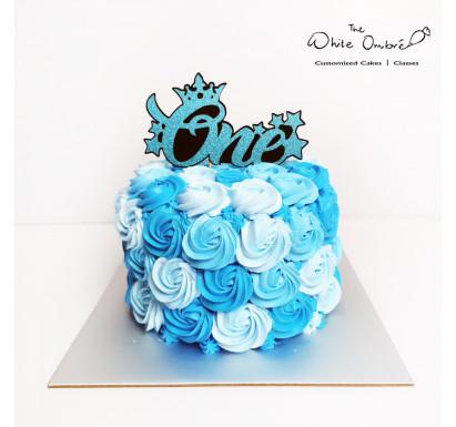 Blue Rosette Smash Cake