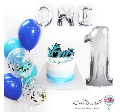 Blue Ombre Smash Cake Balloon Package