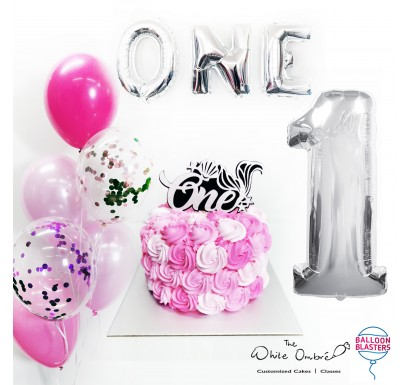 Pink Rosette Smash Cake Balloon Package