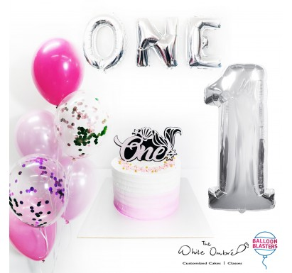 Pink Ombre Smash Cake Balloon Package