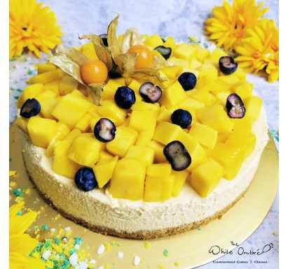 Sugar Free Eggless Mango Cheesecake